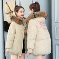 反季羽绒女短款大码棉衣加厚面包服新款韩版棉袄学生外套 米白色 M