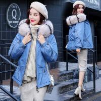 羽绒女冬装新款韩版宽松短款棉衣冬天外套女装加厚小棉袄 蓝色 M