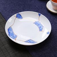 唐丰玉白瓷壶承茶壶护底座放家用放茶壶小盆茶桌蓝白青瓷点心碟