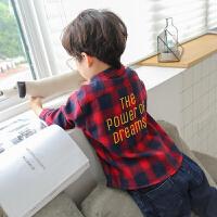 男童衬衫长袖2018新款韩版儿童格子衬衣春秋休闲男孩秋装上衣ZQ04 红色