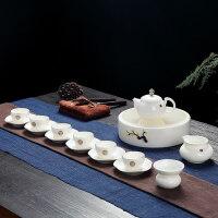 【优选】景德镇功夫茶具套装家用简约羊脂玉白瓷茶盘小茶杯陶瓷盖碗泡茶壶