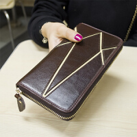 韩版新款拼接牛皮钱包女士拉链长款钱包复古手拿钱夹