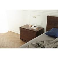 实木家具 哈尔床头柜 简约设计硬枫抽屉储物木蜡油 整装