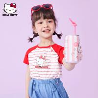 hellokitty女童短袖T恤2021夏季新款半袖上衣宝宝时尚卡通儿童装