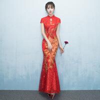 敬酒服新娘2018新款冬季长款红色旗袍修身鱼尾结婚礼服女显瘦中式