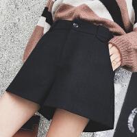 短裤女秋冬2018新款毛呢阔腿裤宽松高腰A字黑色休闲外穿打底靴裤