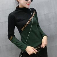 2018年新款修身显瘦半高领打底衫 韩版潮百搭长袖加绒女T恤上衣 FERD墨绿