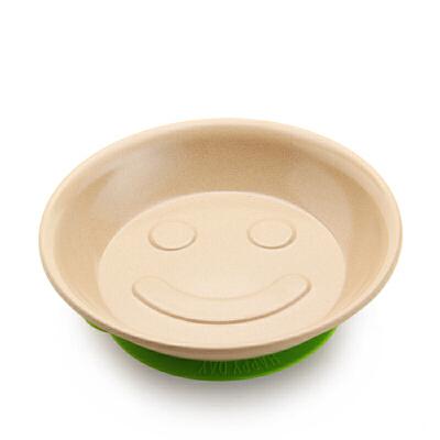当当优品 壳氏唯稻壳环保餐具婴儿碟儿童笑脸吸盘碟(草绿)当当自营 稻壳材质 健康环保 能吸的硅胶底 天然防菌