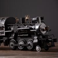 美式复古件蒸汽火车头模型做旧铁艺机车陈列摄影道具酒吧咖啡厅样板房装饰摆件工艺品 复古经典黑色