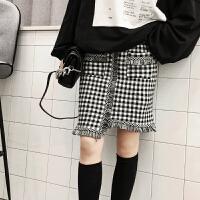 格子针织半身裙女早秋2018新款高腰不规则包臀的短裙子 黑白格 均码