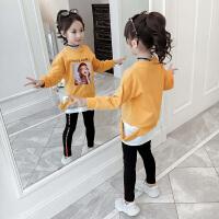 2019春秋季新款韩版儿童洋气小女孩童装拼接上衣女童秋装卫衣