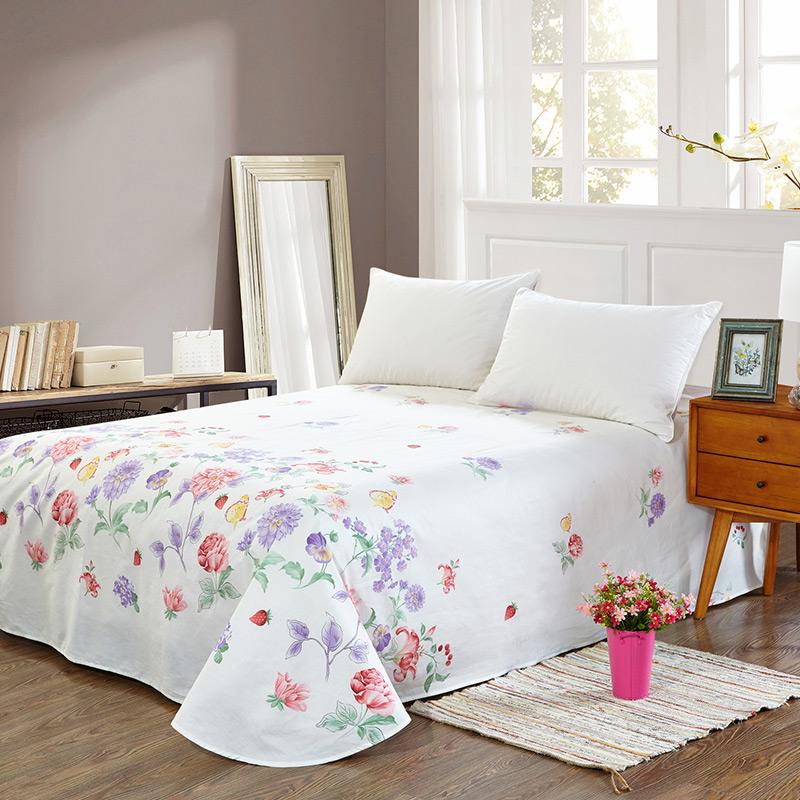 当当优品 纯棉斜纹床上用品 床单250*230cm 朵朵真情