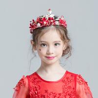 儿童皇冠 新娘头饰配饰 婚纱礼服 女童发饰 发箍红色头饰手工MYZQ54 红色