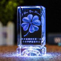 水晶球3D玫瑰花摆件发光生日礼物女生定制创意刻字情人节送女友