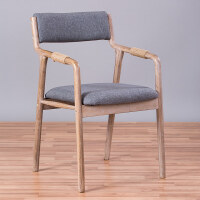 【热卖新品】实木餐椅复古休闲椅简约现代书房椅子家用布艺靠背新中式扶手餐椅 复古架 深灰麻布