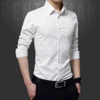 春秋丝光棉男士长袖衬衫休闲韩版寸衫修身免烫薄款衬衣男青少年黑
