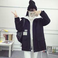 2018秋冬韩版学院中长款原宿风衣连帽外套女长款外套羊羔毛棉衣