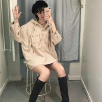 秋冬女装新款韩版复古气质双口袋羊羔毛小外套连帽排扣领宽松上衣