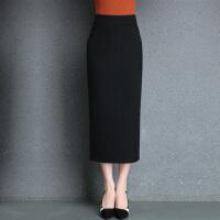 毛线针织包臀裙半身裙中长款灰色裹裙2018秋冬直筒裙显身材修身女