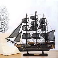 一帆风顺装饰摆件 办公室红酒柜玄关摆件工艺品实木帆船模型