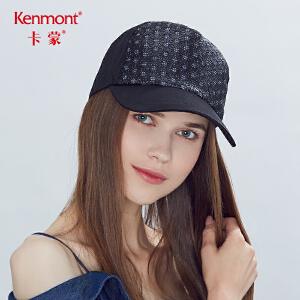 卡蒙黑色帽子女个性黑鸭舌帽夏透气网布棒球帽硬顶户外遮阳防晒帽3617
