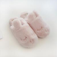 冬季拖鞋女士日式可爱卡通小兔加厚保暖室内家居家棉拖鞋