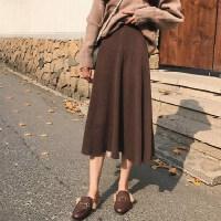 2018秋冬新款女装韩版毛衣裙子中长款高腰显瘦百褶裙针织半身裙子