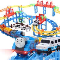 2018新款 拖马斯小火车 轨道车玩具套装电动火车轨道儿童玩具小汽车3岁 牧场双层轨道:1辆汽车 1火车2车厢3动物