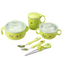 保温碗儿童餐具套装宝宝注水吃饭碗不锈钢防摔吸盘碗婴儿辅食碗勺yw wk-168