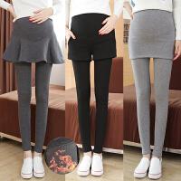 大码200斤冬季加绒加厚孕妇裤韩版时尚打底裤裙外穿假两件长裤子