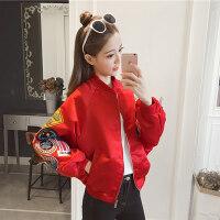 2019春秋新款时尚立领贴布蝙蝠袖短款外套女韩版休闲时尚棒球服潮
