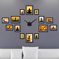 【品牌热卖】瑜伽馆会所舞蹈室背景壁画装饰画养生塑形挂画时钟组合相框墙画 228*156(占墙面积) 默认黑色相框,其它