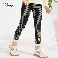 迪士尼女童打底裤2021春装新款洋气撞色拼接卡通童装儿童宝宝裤子