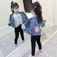 2019春装新款韩版潮童装儿童洋气上衣中大童夹克女童牛仔外套