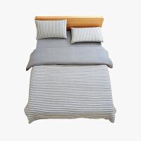 当当优品家纺 全棉日式针织床品 1.8米床 床笠四件套 条纹烟灰