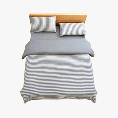 当当优品家纺 全棉日式针织床品 1.8米床 床笠四件套 条纹烟灰当当自营 MUJI制造商代工