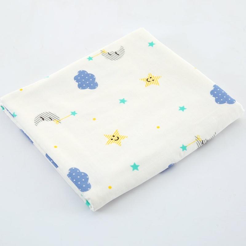 宝宝浴巾 纱布纱布卡通印花童被婴幼儿包被超柔软竹纤维浴巾包边盖毯毛巾被wk-76
