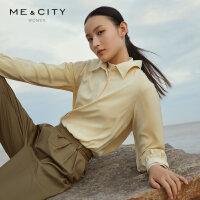 【1件3折价:107.7,可叠券】MECITY女装冬季设计感薄款优雅休闲通勤雪纺长袖衬衫女