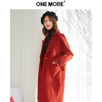 【秋冬热卖清仓 到手价:339.8】ONE MORE2018冬装新款红色羊毛大衣女中长款毛呢赫
