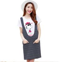 慈颜夏装韩版孕妇裙孕妇装夏款时尚条纹2件套孕妇连衣裙套装WML0109