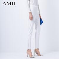 Amii秋冬新简约百搭休闲修身加绒纯色长裤.