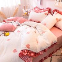 秋冬双面珊瑚绒四件套加厚保暖法兰绒被套床单公主可爱兔兔绒床品定制