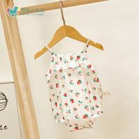 婴儿夏装三角哈衣婴儿外出服潮女宝宝夏季连体衣爬服