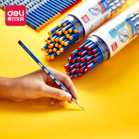 得力洞洞笔小学生三角杆儿童矫姿铅笔hb铅笔一年级2b30支凹槽洞洞笔幼儿园学写字学习文具用品