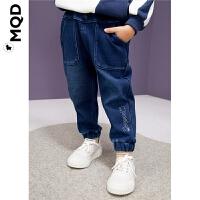 MQD童装小童裤子儿童19冬新款加绒加厚保暖男宝宝束脚萝卜牛仔裤