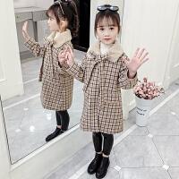 中大童女童冬装外套2019新款洋气加绒加厚呢子大衣