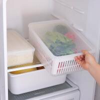 百露冰箱水果蔬菜收纳盒保鲜盒厨房沥水篮塑料洗菜盆带盖收纳筐 约31*22*12.8cm
