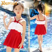 幼儿中大童儿童泳衣连体裙式游泳衣套装可爱女童泳衣
