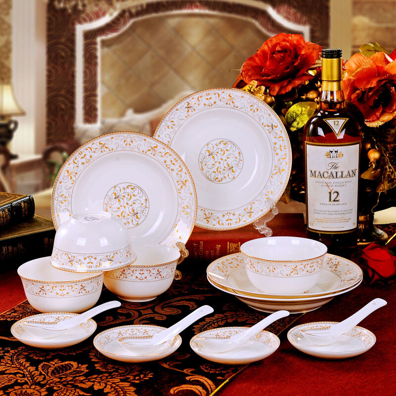 碗碟套装家用景德镇欧式骨瓷碗筷陶瓷器吃饭套碗盘子中式组合餐具 极速发货*赠送运费险*品质保障*购物无忧
