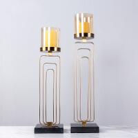 别墅样板房软装饰品欧式奢华金属烛台摆件客厅餐桌蜡烛大理石底座